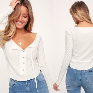 NEW! Free People Cecelia Button Henley Thermal L